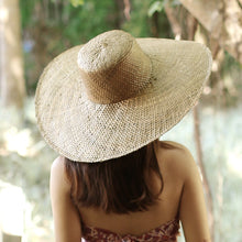 Swasti Wide Round Palm Straw Hat, in Tan Beige