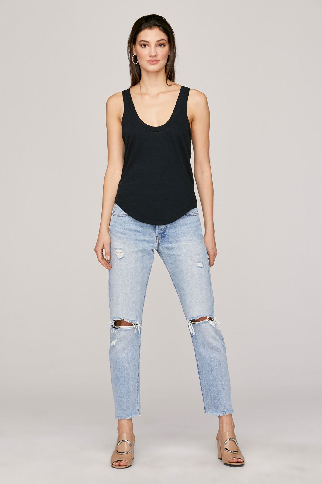 Tanner Scoop Tank-Black