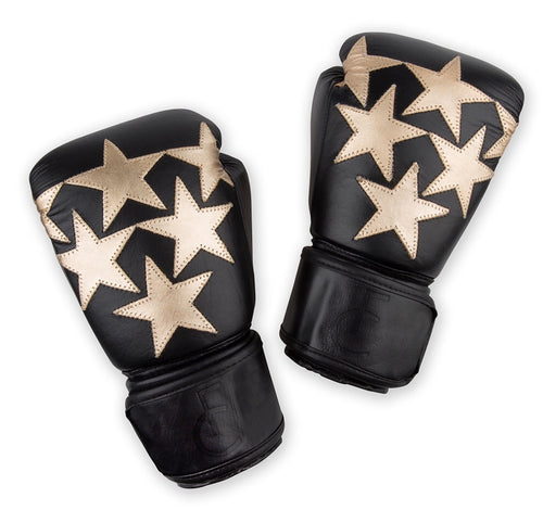 Star Boxing Gloves Black/Gold Leather