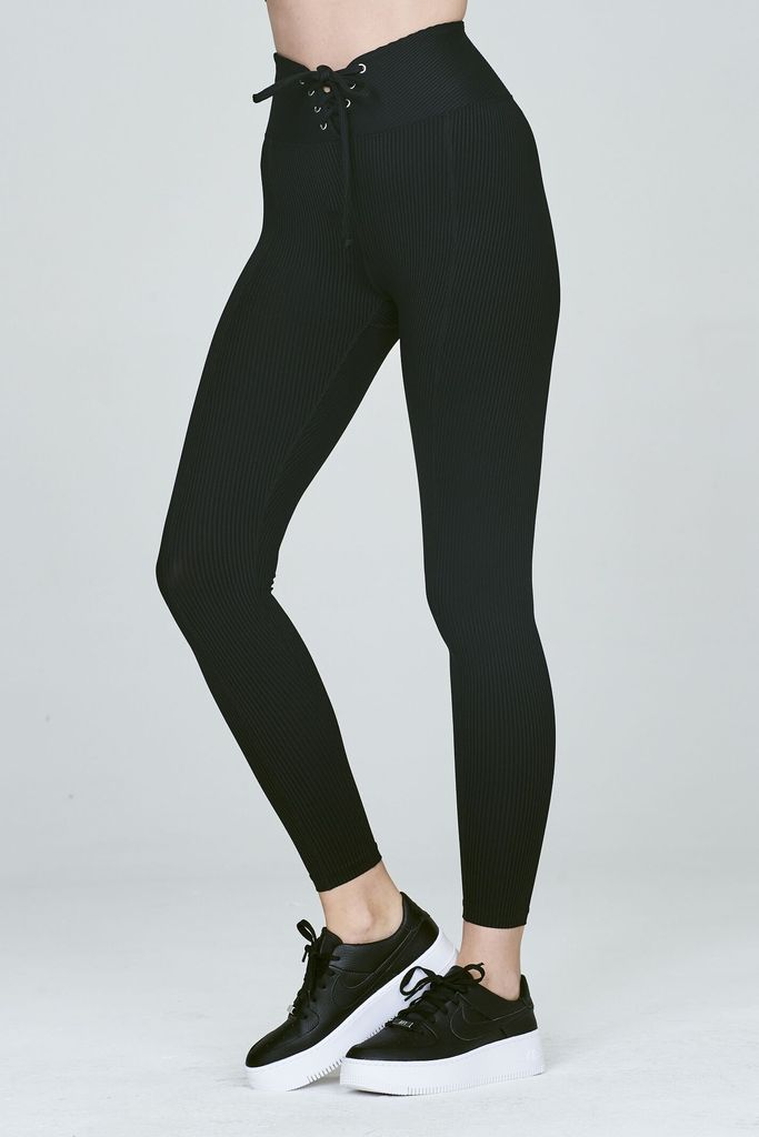 Ribbed Football Legging Black