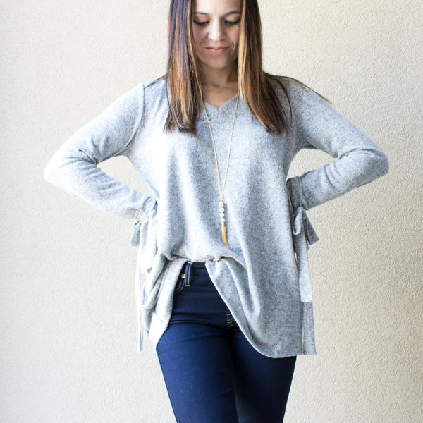 Grey Long Sleeve Tie Sweater Womens
