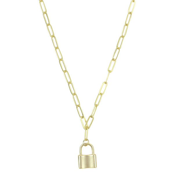 Arlo And Arrows Jewelry - Chain Lock Necklace In Gold