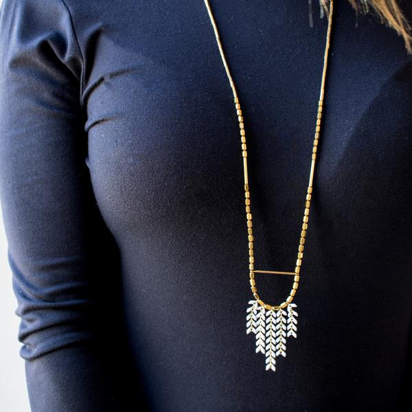 Womens Gold Tassel Necklace