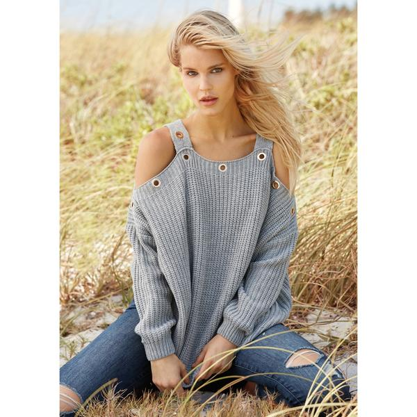 Womens Cold Shoulder Sweater