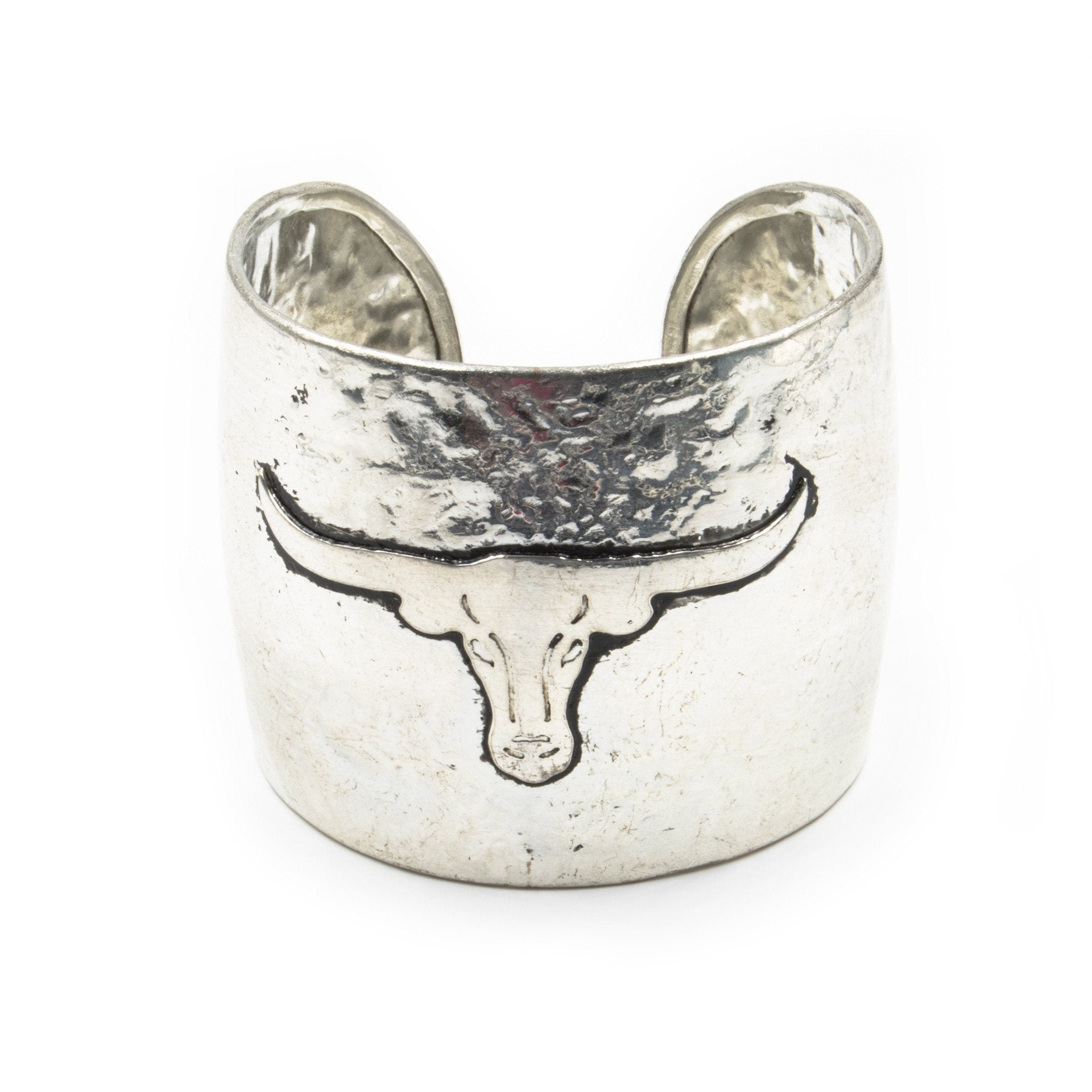 'Longhorn' Hammered Metal Cuff Bracelet - Arlo and Arrows