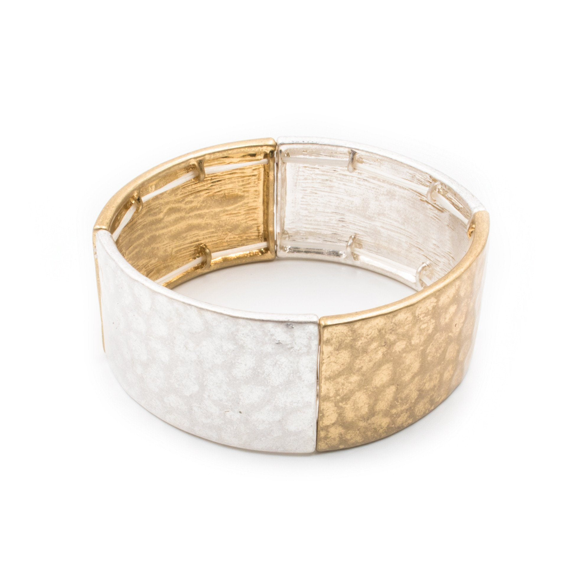 Hammered Silver & Gold Two Tone Stretch Bracelet - Arlo and Arrows