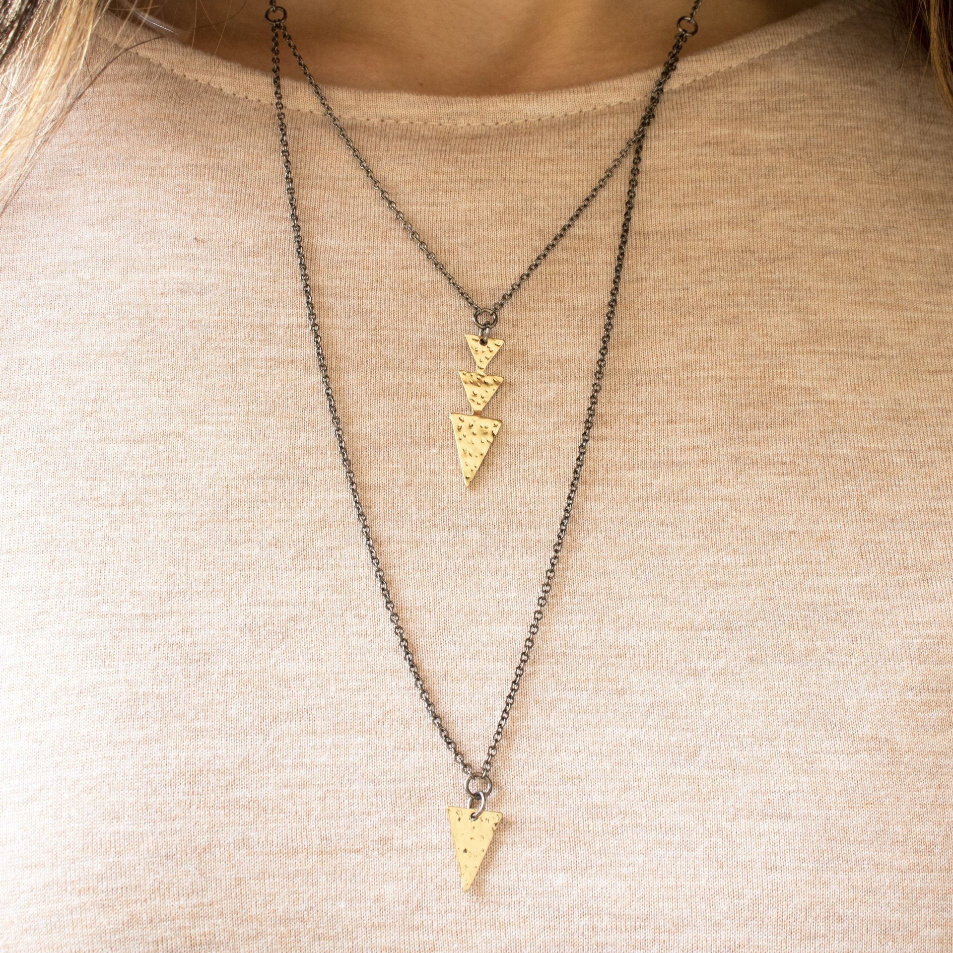 Mixed Metals Layered Arrow Necklace - Arlo and Arrows