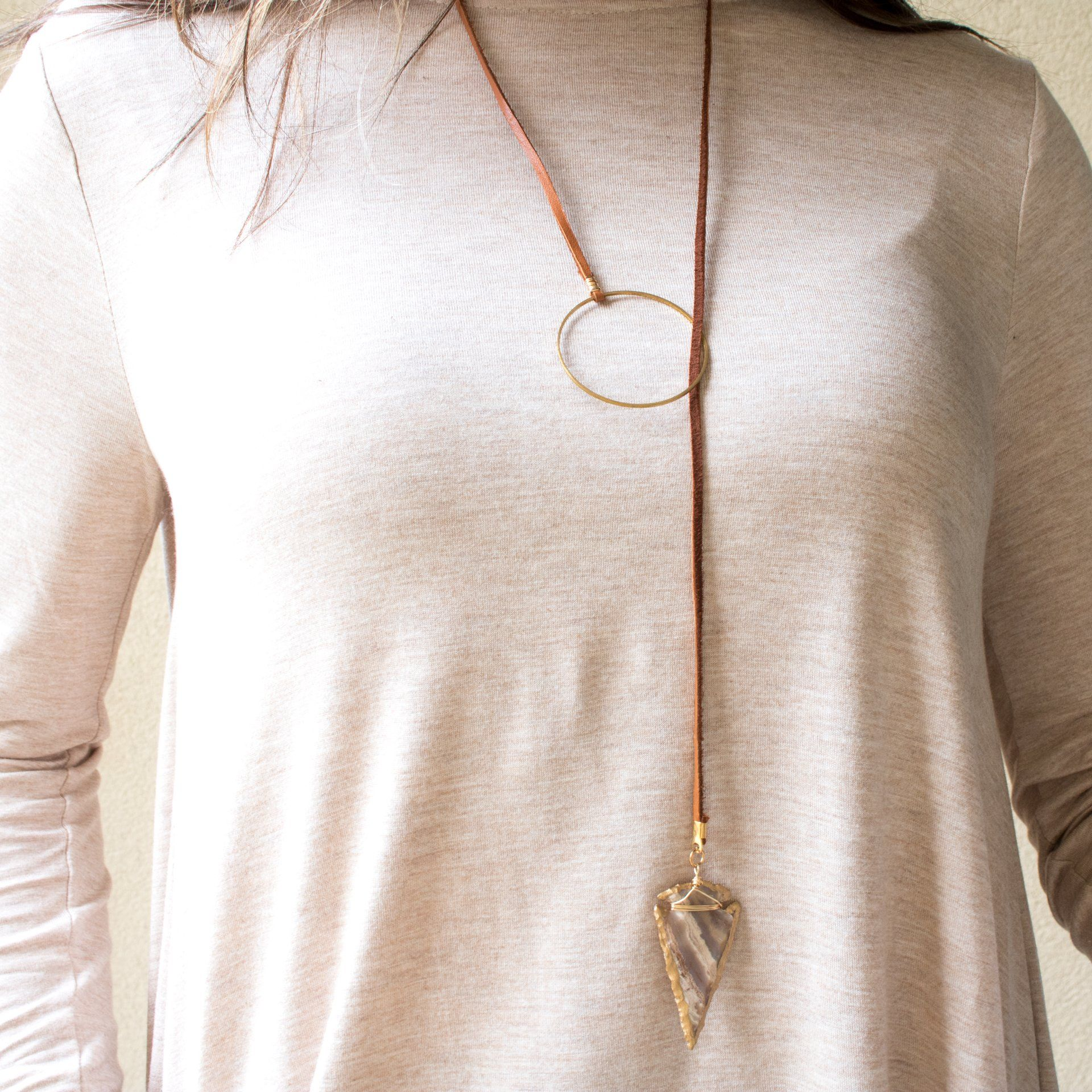 Arrowhead Lariat Wrap Necklace