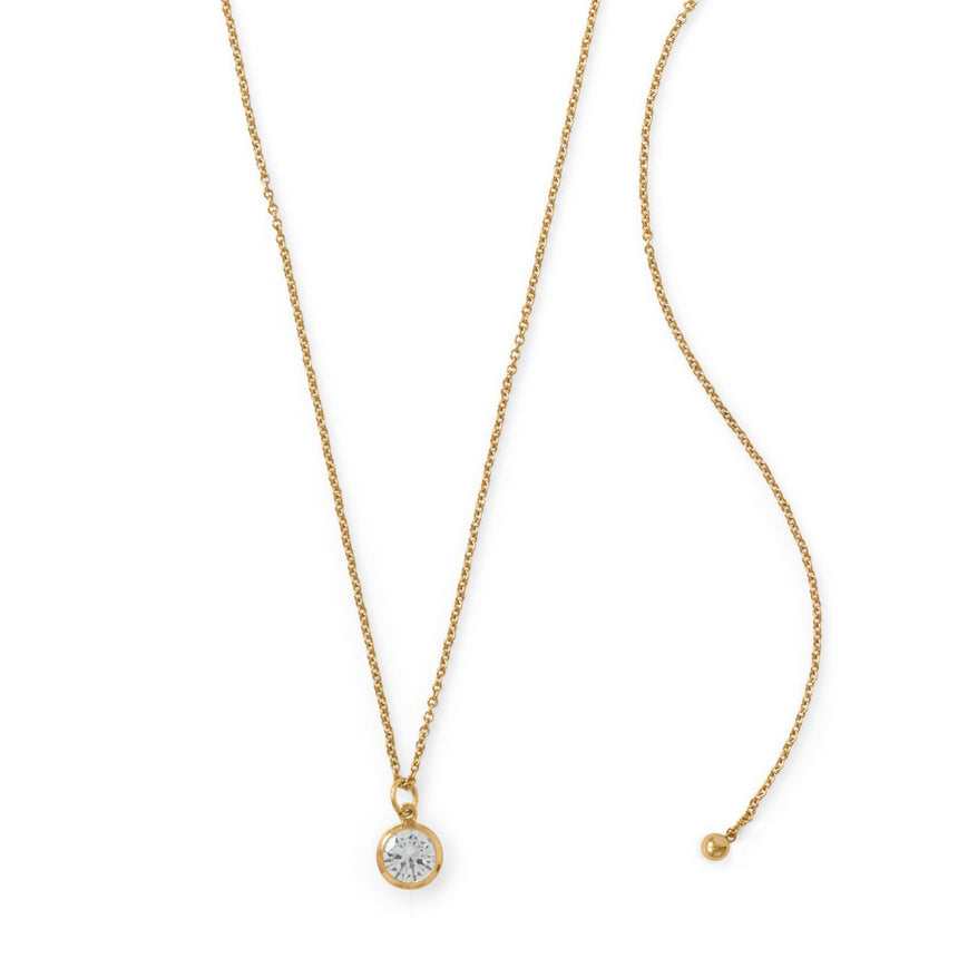 "Adjustable 22"" 14/20 Gold-Filled CZ Drop Necklace"