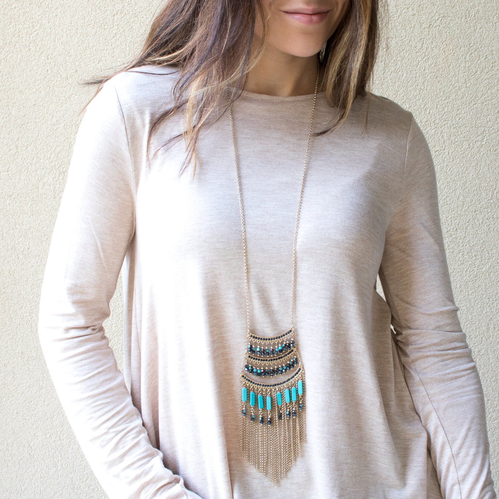 Tribal Turquoise Tassel Necklace - Arlo and Arrows