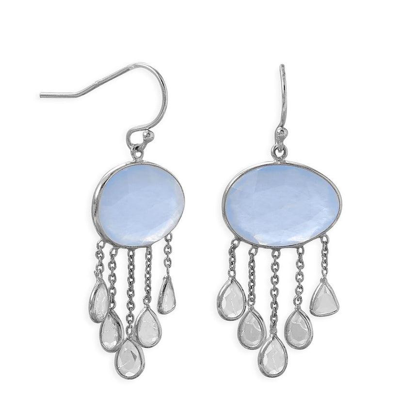 Rhodium Plated Chalcedony And White Quartz Drop Earring