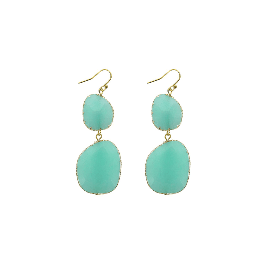 Statement Aqua Stone Earrings - Arlo and Arrows