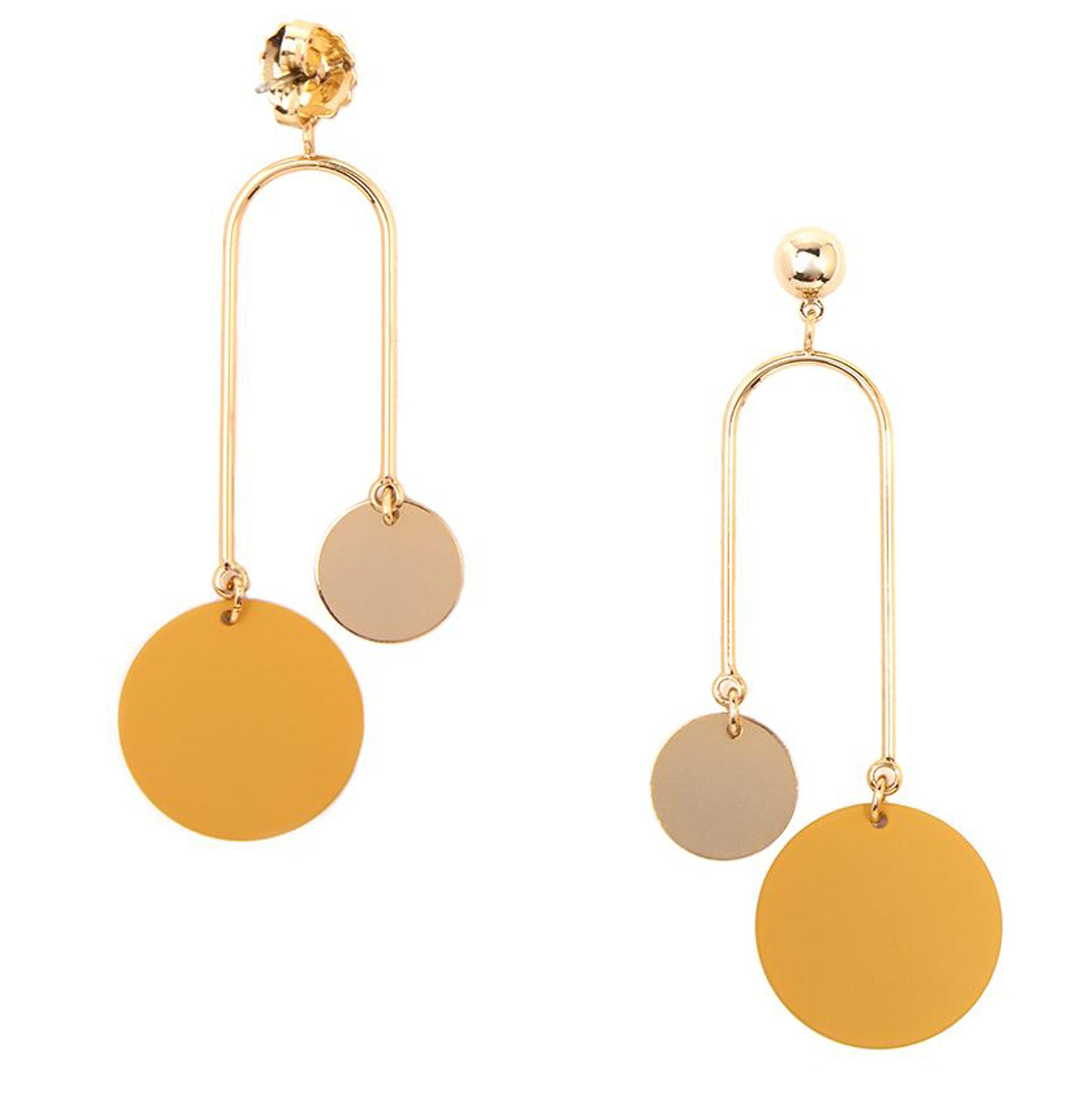 Asymmetrical Painted Metal Drop Earring (3 Colors)