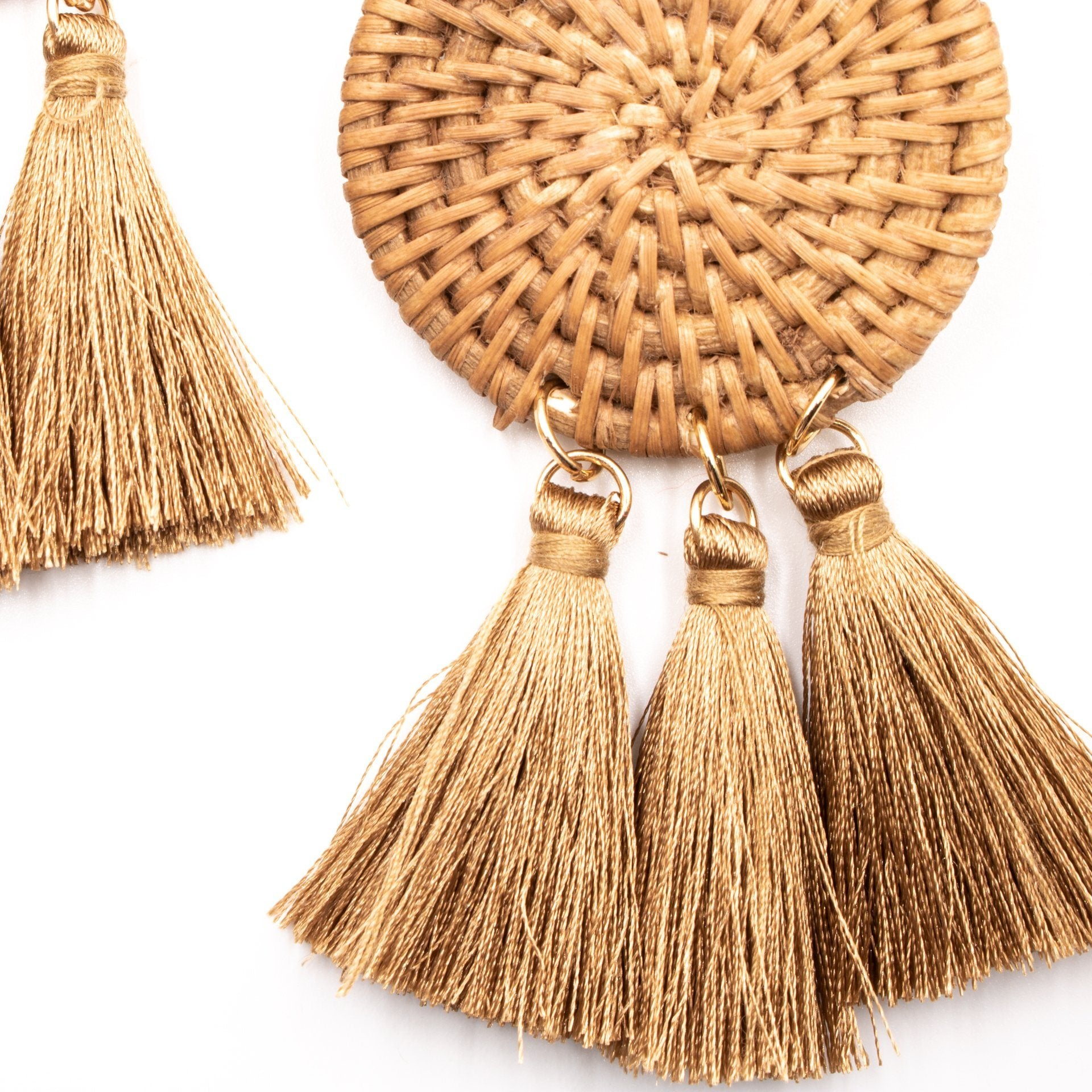 Brown Tassel Earrings - Close Up