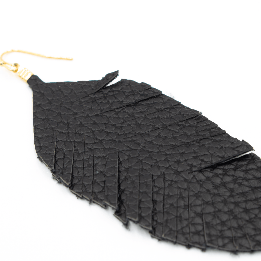 Black Fabric Feather Earrings Side View