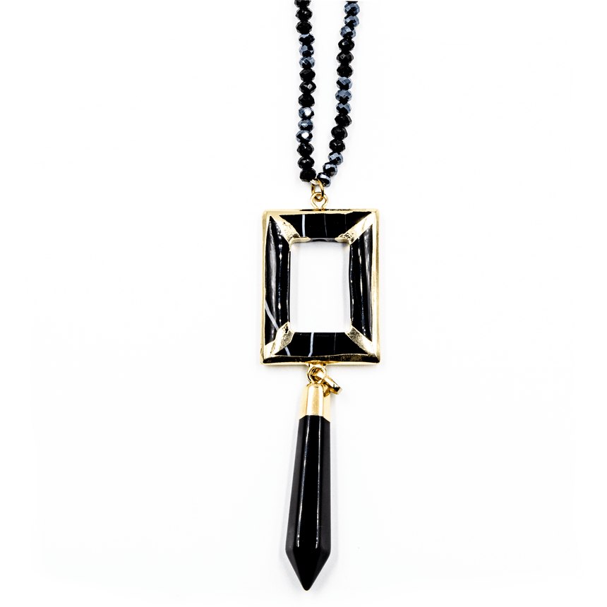 Midnight Black Beaded Necklace With Rectangular Tassel Pendant - Arlo and Arrows