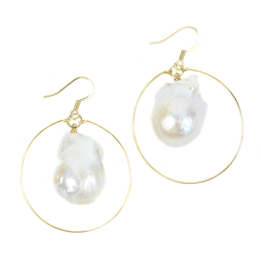 Women's Pearl Hoop Earrings by Bourbon and Boweties