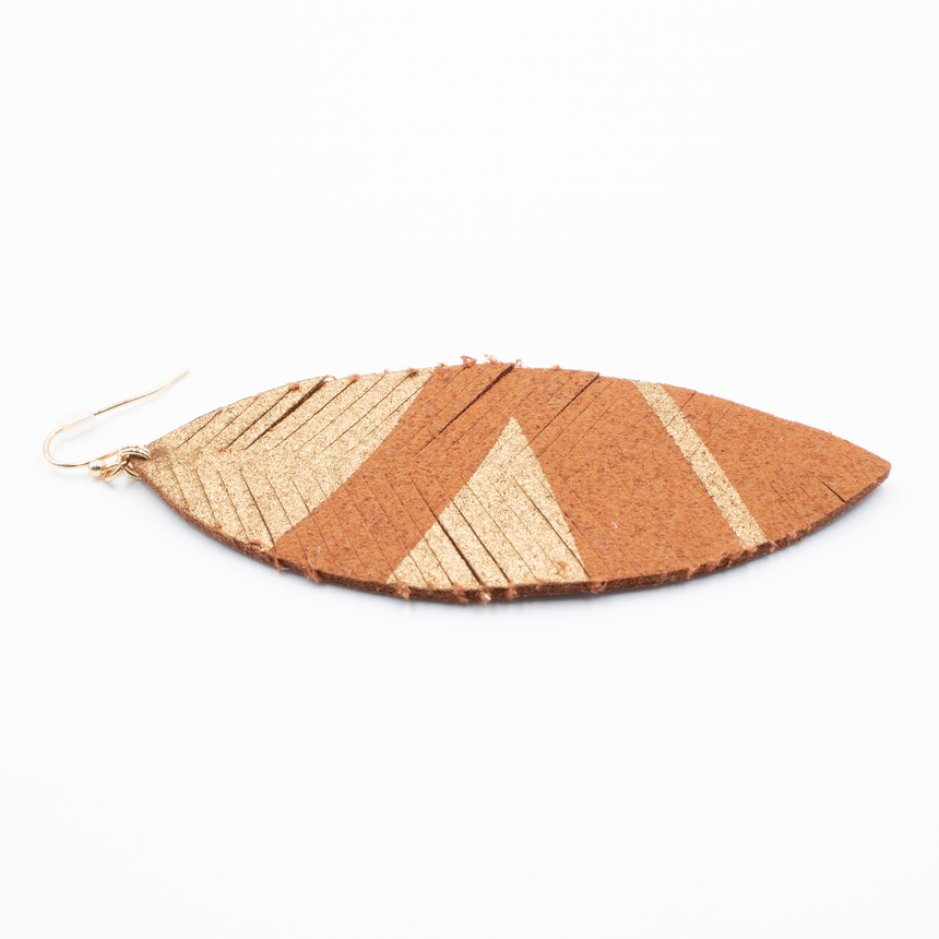 Brown Feather Earrings Side View