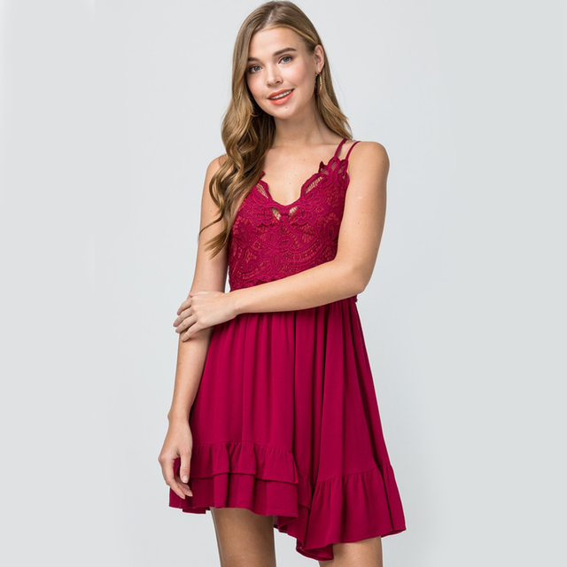 Jessa Lace Dress In Garnet