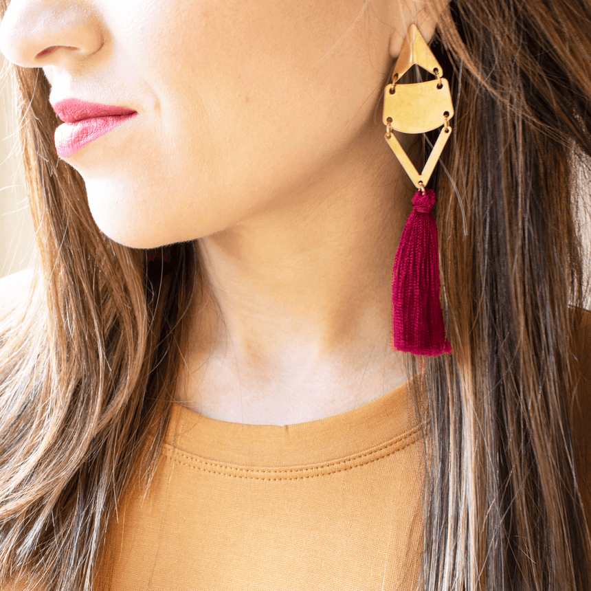 FSU Garnet Tassel Earrings Styled