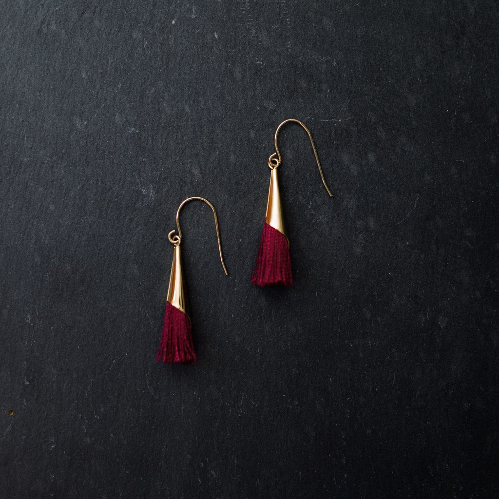 'Bethany' Garnet Tassel Earrings - Arlo and Arrows