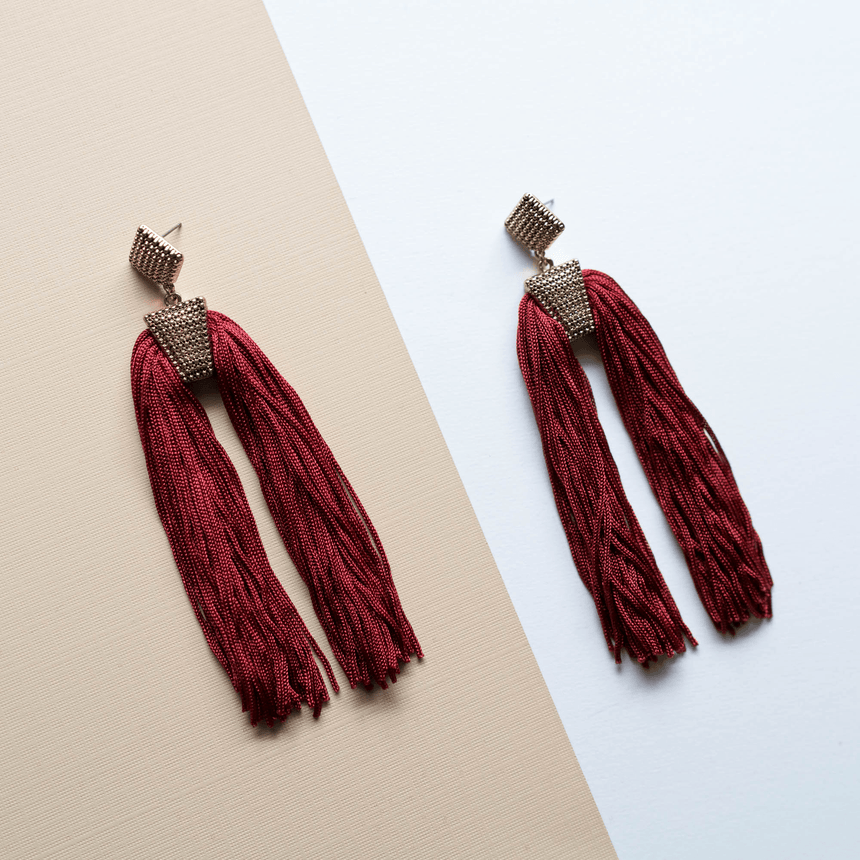 Red Statement Tassel Earrings