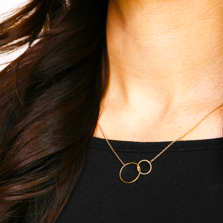 14K Gold Plated Circle Link Pendant Necklace
