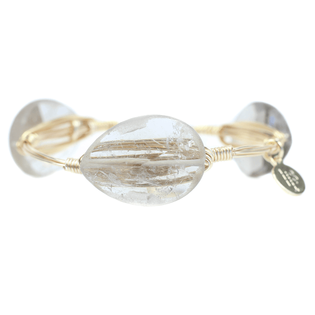 Clear Natural Stone Bangle Bracelet - Arlo And Arrows