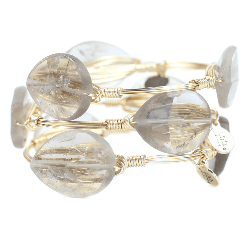 Clear Natural Stone Bangle Bracelets - Arlo And Arrows