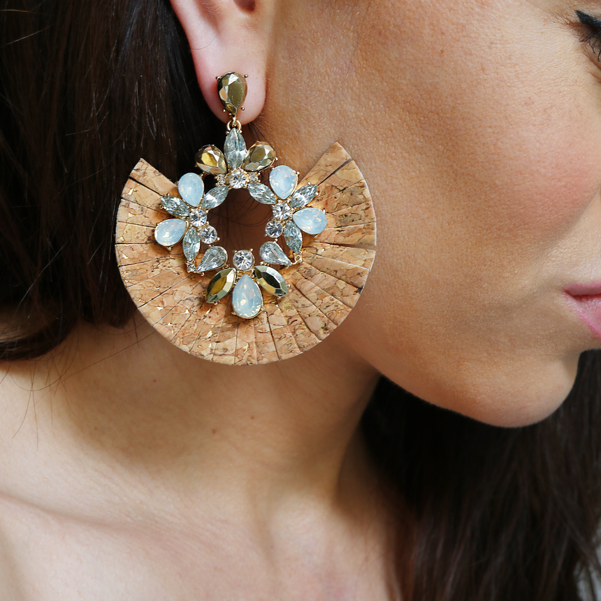 Cork Statement Earrings Styled - Arlo And Arrows
