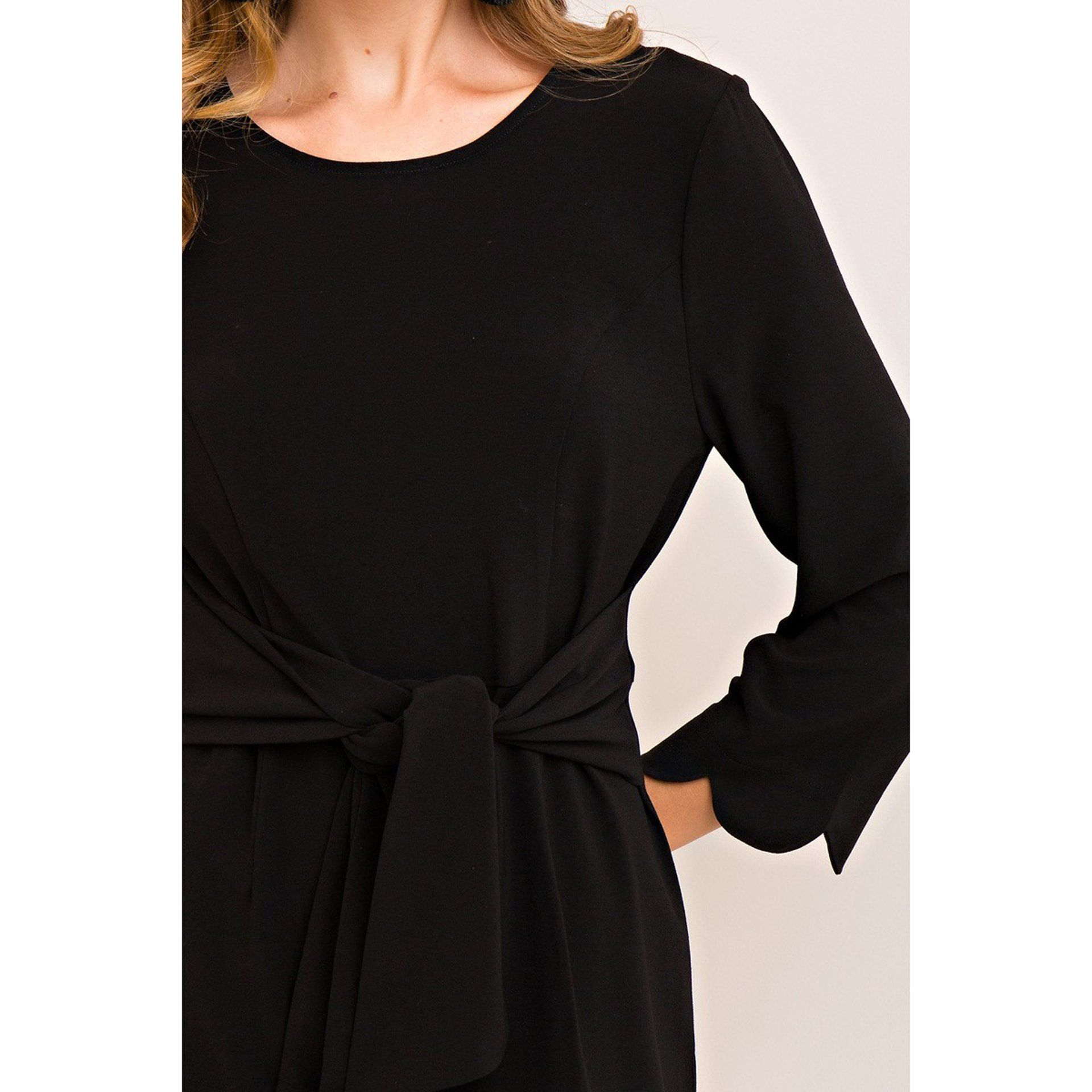 Solid Scalloped A-Line Dress with Two-Way Tie in Black - Arlo and Arrows