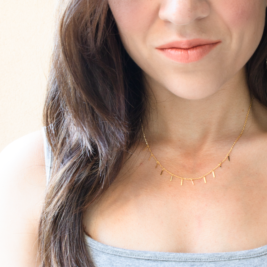 GOLD DIPPED BAR DROP PENDANT COLLAR NECKLACE