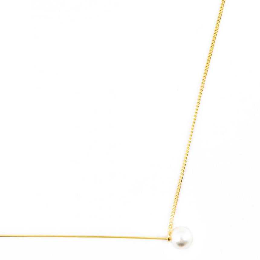 Delicate Pearl Barbell Necklace
