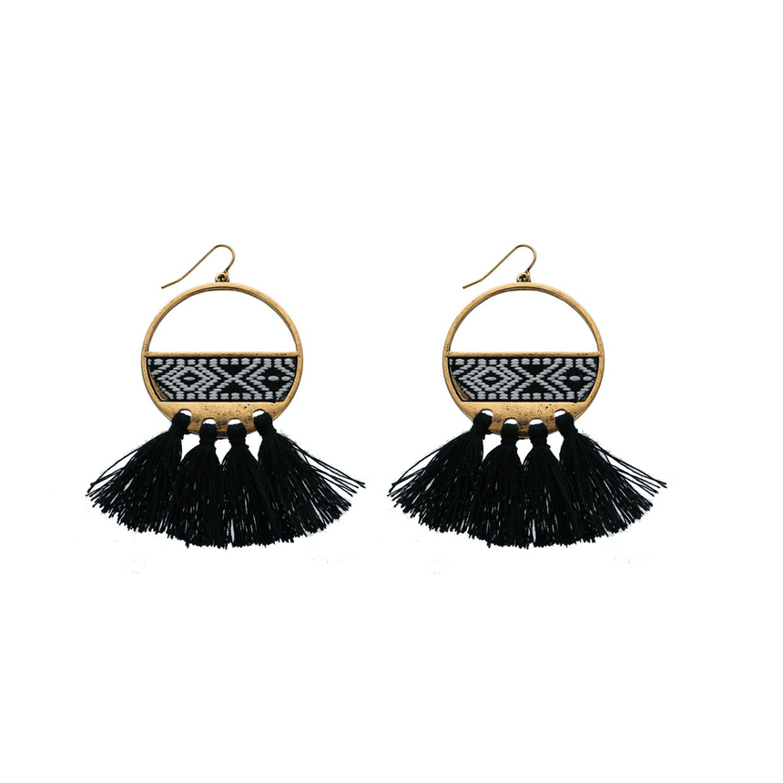 Embroidered Tribal Fringe Earrings - Arlo and Arrows