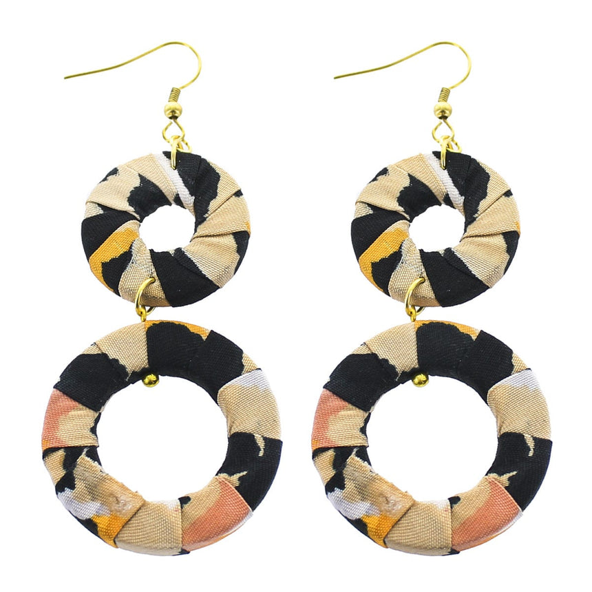 Black Ivory Fabric Circle Linear Earrings