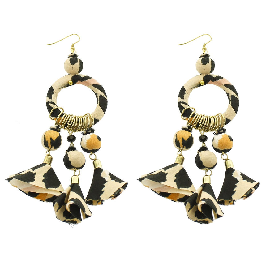 Black Ivory Fabric Chandelier Earrings