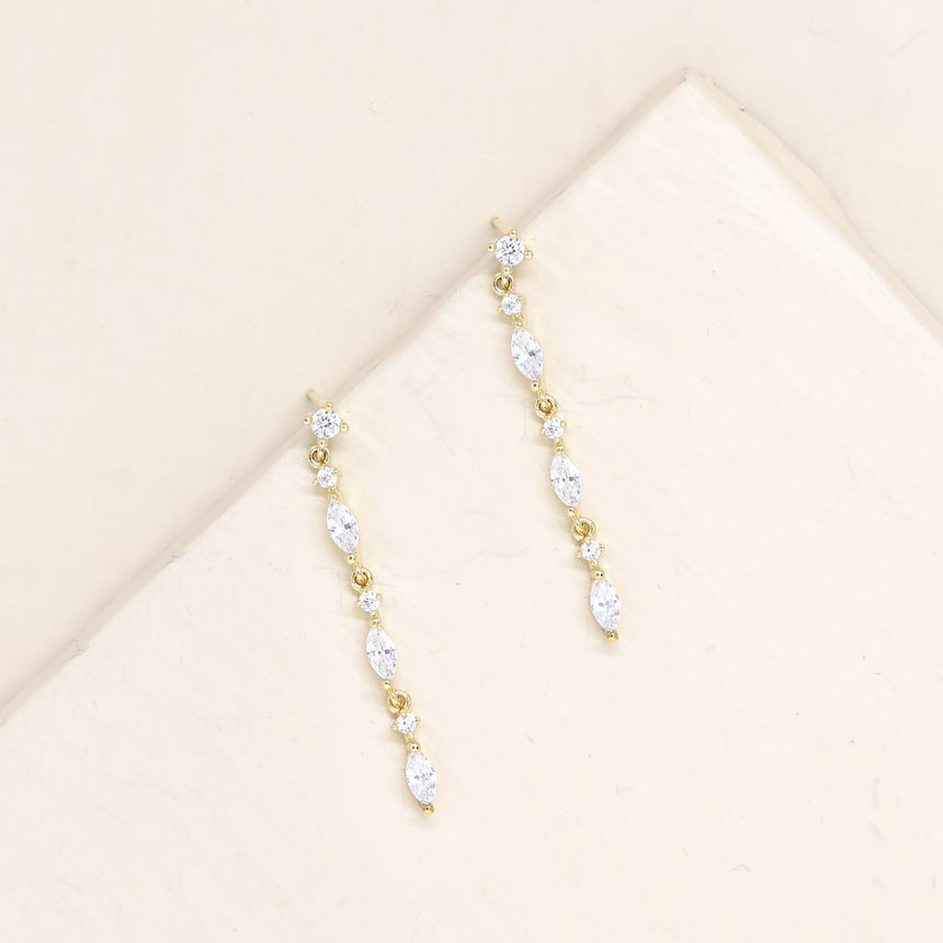 Dainty Linear Crystal Drop Earrings
