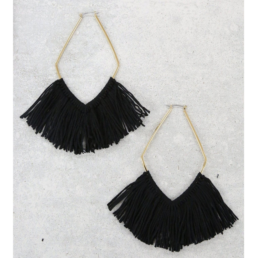 Black Statement Tassel Earrings - Arlo and Arrows