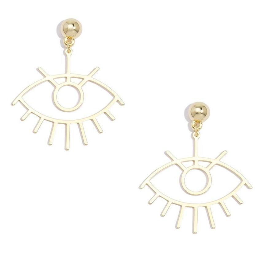 Eye Shaped Drop Earring In Gold