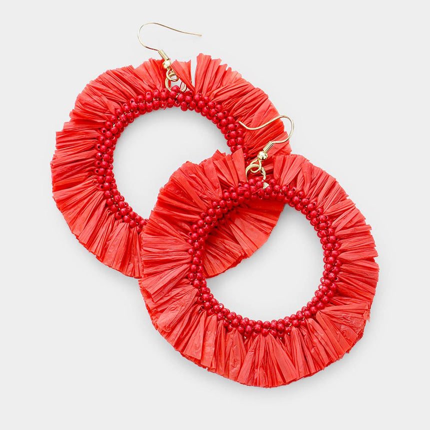 Miss Americana Raffia Tassel Beaded Circle Earrings
