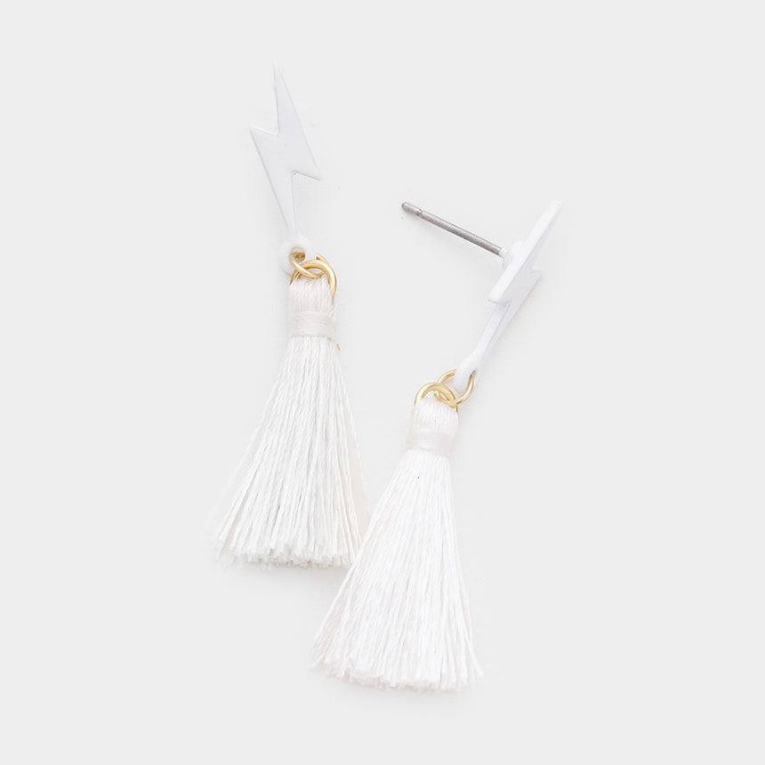 Mini Lightning Bolt Tassel Earrings (2 Colors)