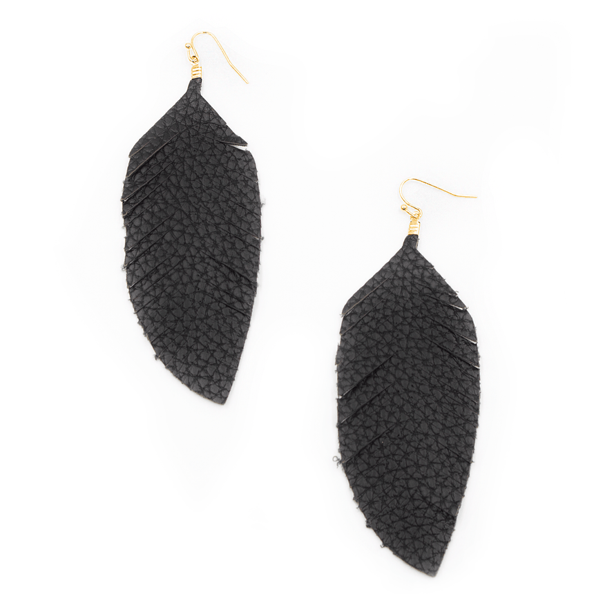 Black Fabric Feather Earrings