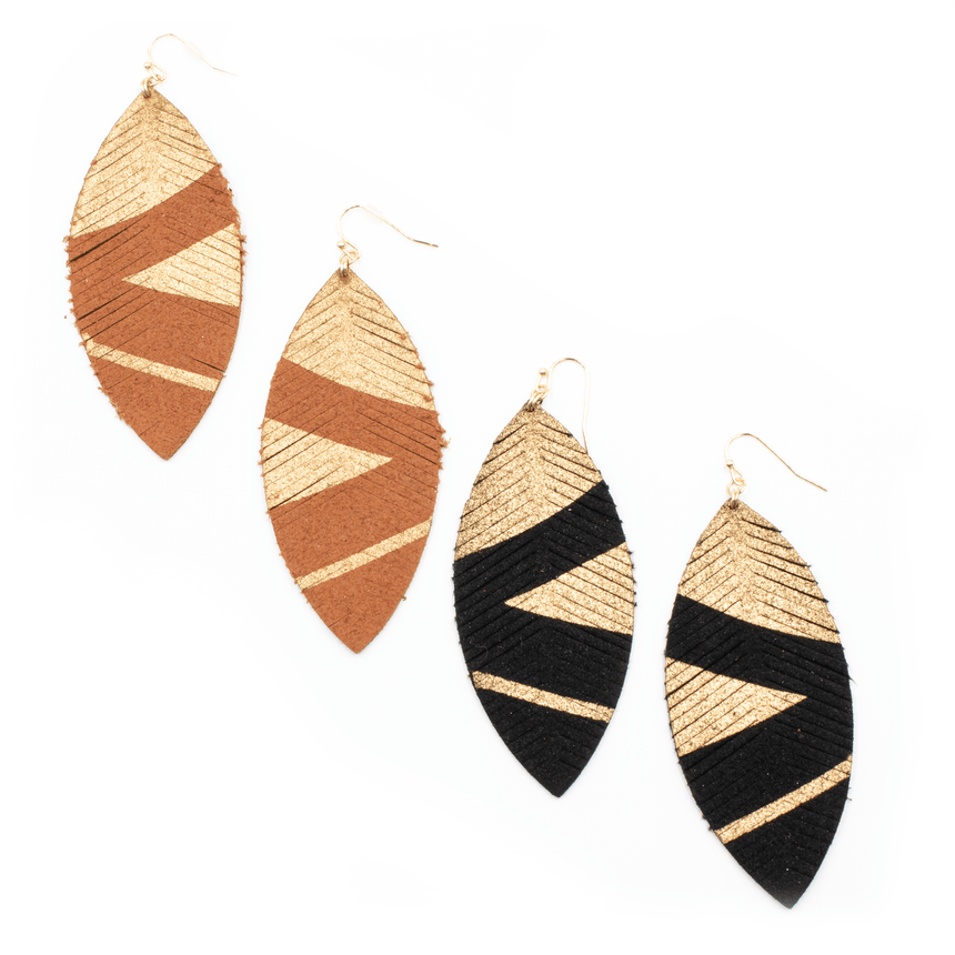 Suede Feather Earrings