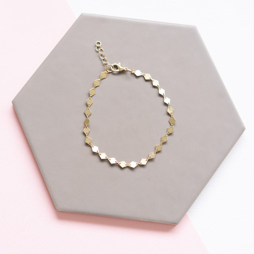 Gold Geometric Diamond Chain Anklet