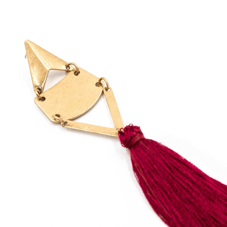 FSU Garnet Tassel Earrings Side View