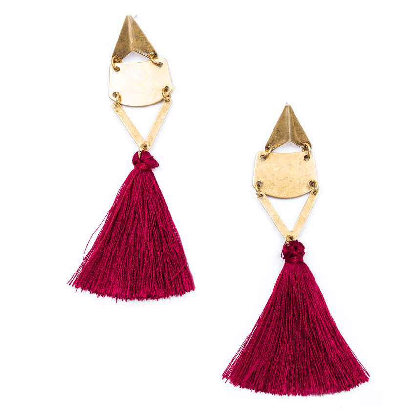 FSU Garnet Tassel Earrings