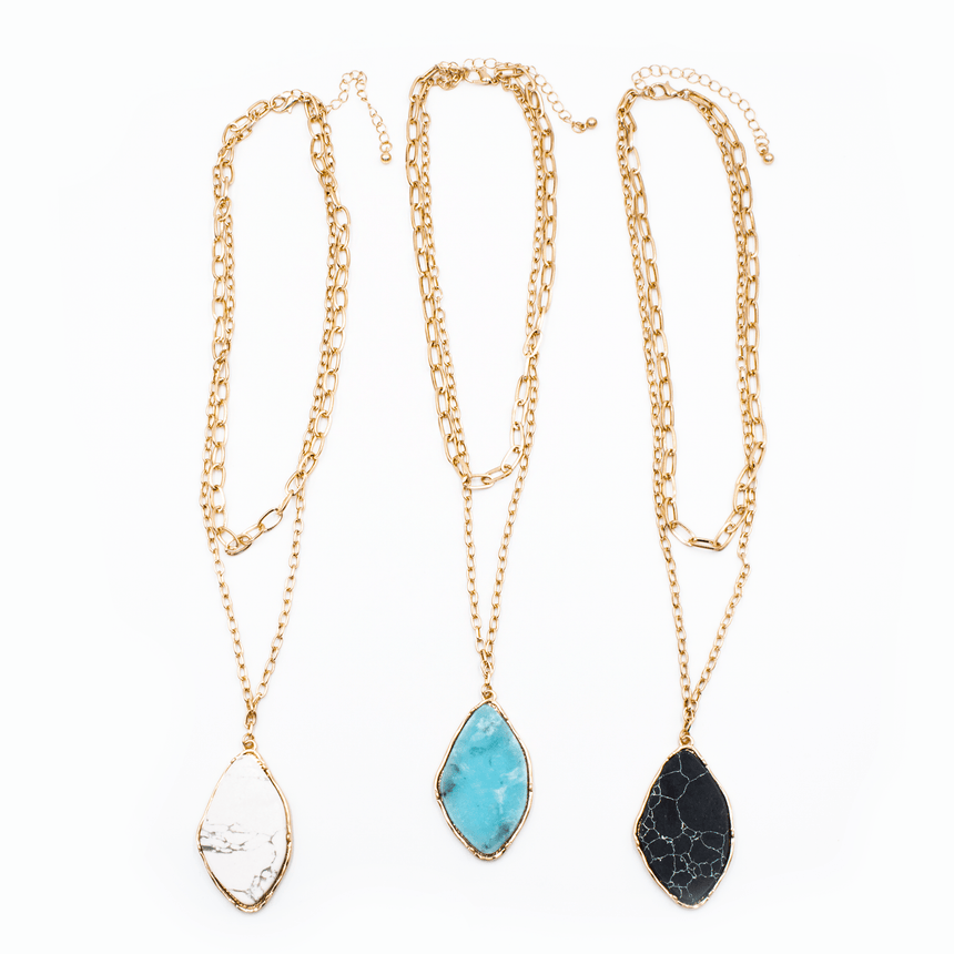 Opulent Stone Layered Chain Necklace (3 Colors)