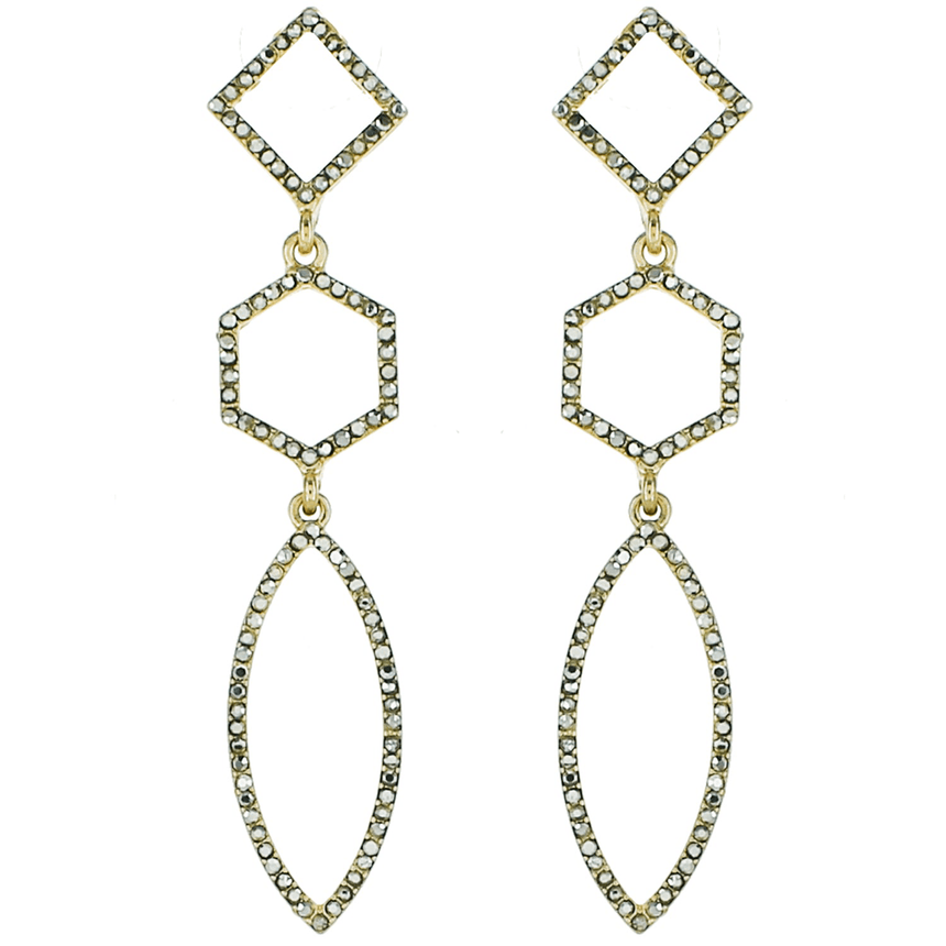 Gold Crystal Geometric Earrings