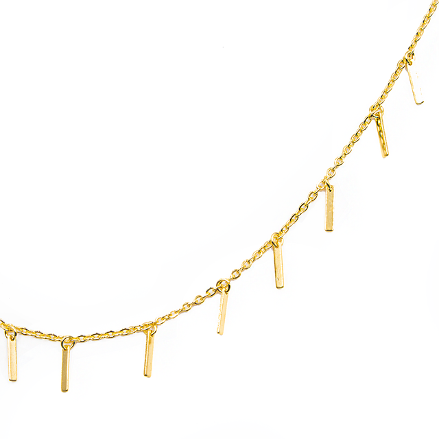 Delicate Bar Pendant Fashion Necklace In Gold