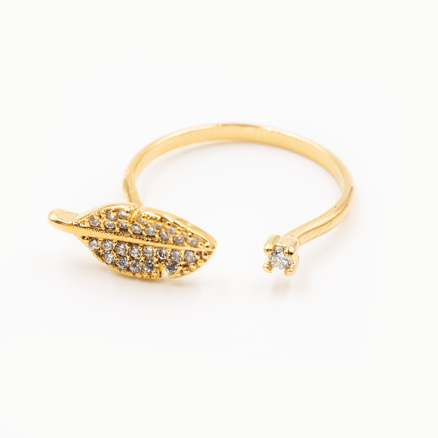 Leaf Ring 14k Gold - Top View